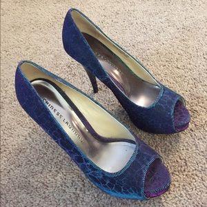 Chinese laundry blue purple peep toe heels